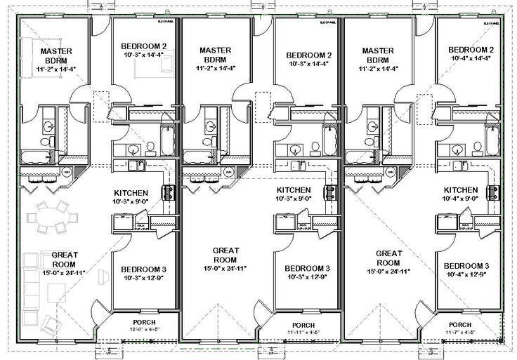 Best 25 duplex house plans ideas on pinterest for Triplex design plans