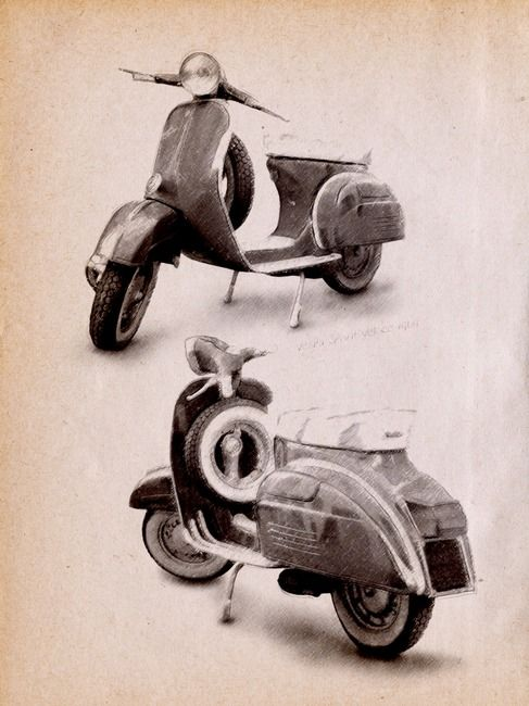 """""""Vespa Scooter 1969"""" by Michael Tompsett, Castellon // The Vespa Sprint was a 150cc 2 stoke scooter made by Piaggio from 1965 to 1979. The Vespa Sprint Veloce was an upgraded model produced from 1969 to 1979. The Vespa Spint Veloce had an updated engine which increase the compression ratio. The Vespa scooter was the first globally... // Imagekind.com -- Buy stunning, museum-quality fine art prints, framed prints, and canvas prints directly from independent working artists and photographers."""