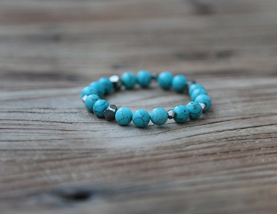 Turquoise howlite and pyrite beaded stacking bracelet by Rosehip Jewelry