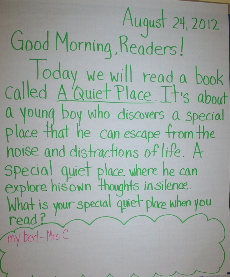 A great way to connect your literacy lesson for the day to your Morning Message. (Photo from Ridgeway Elementary School, White Plains, NY.)