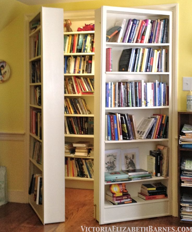 LOVE this idea for a wall of bookcases... that opens to MORE books! Like a walk-in book closet.