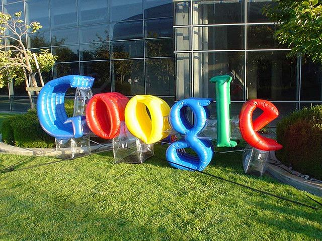 Inflatable Google sign, CA HQ
