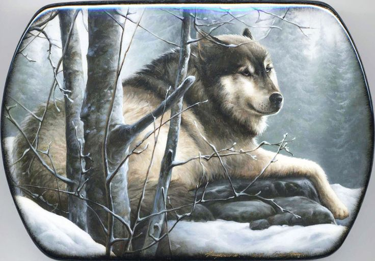 """""""Wolf"""" Lacquer Art By Shavrin (Fediskino)"""