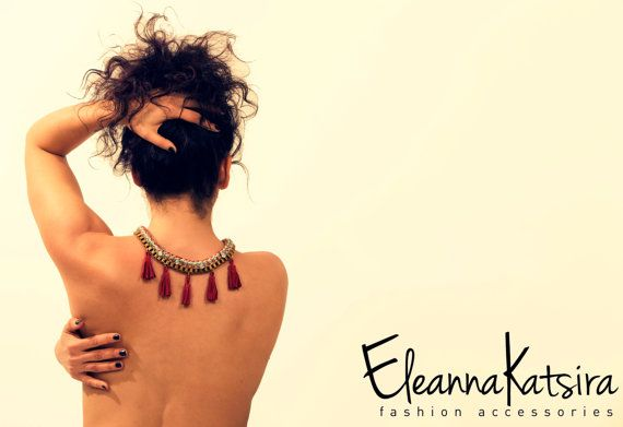 Statement Necklace  Rope and Golden Chain with by EleannaKatsira, €66.48