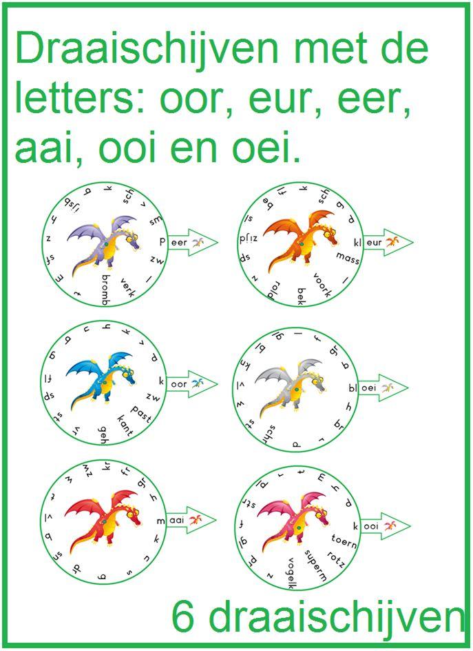 Draischijven met de letters: oor, eer, eur, ooi, aai en oei.