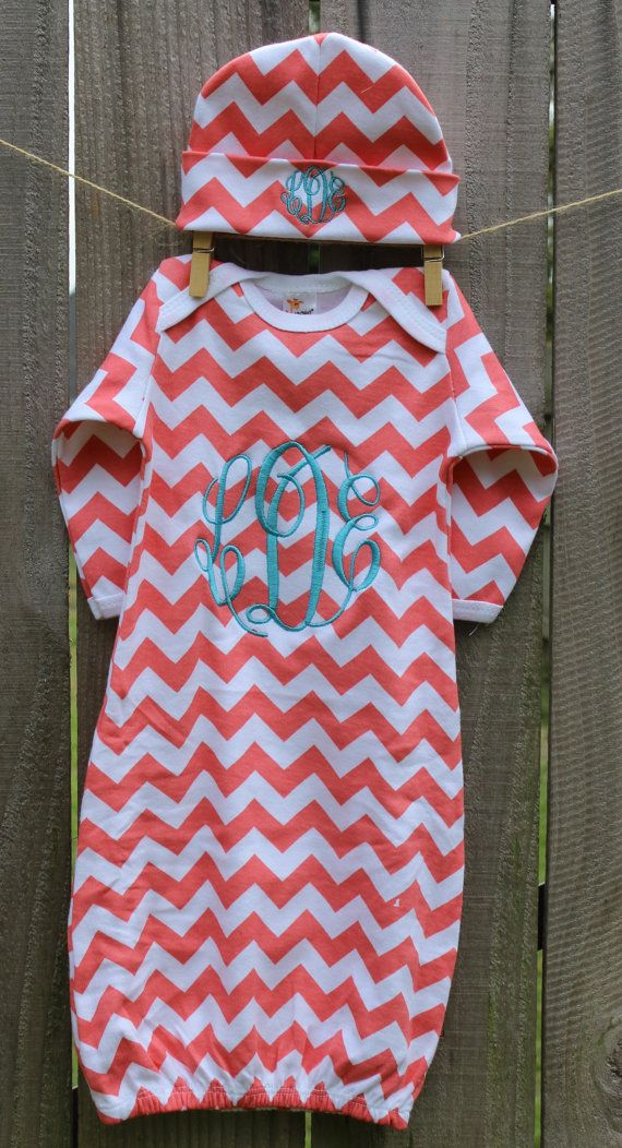 Chevron Personalized Infant Baby Gown w/ Hat