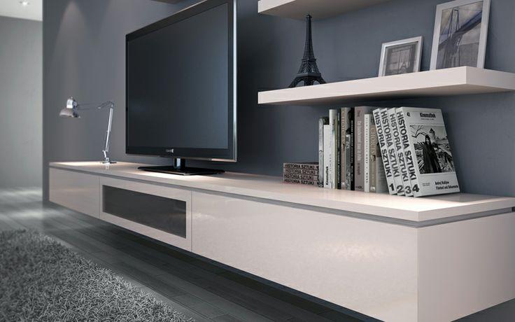 lounge room floating shelves