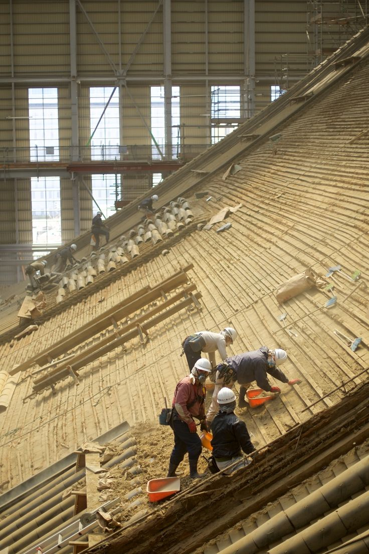 "Re-building a Temple Roof - Higashihongan-ji - Only specially trained workers can restore traditional buildings—especially world heritages. Here during the decomposition.  <a href=""http://www.kyotographer.com"">kyotographer</a> 