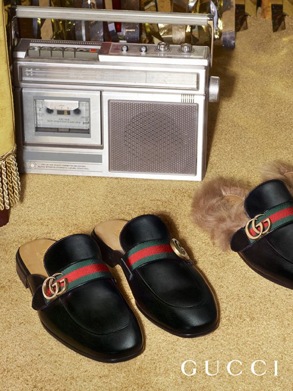Details: the new Gucci Princetown slippers featuring the House Web stripe and double G hardware from Gucci Pre-Fall 2017 by Alessandro Michele.