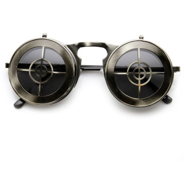 Unique Full Metal Flip Up Bulls Eye Crosshair Target Steampunk... (€10) ❤ liked on Polyvore featuring accessories, eyewear, sunglasses, steam punk glasses, steampunk sunglasses, round lens sunglasses, round frame sunglasses and flip up glasses