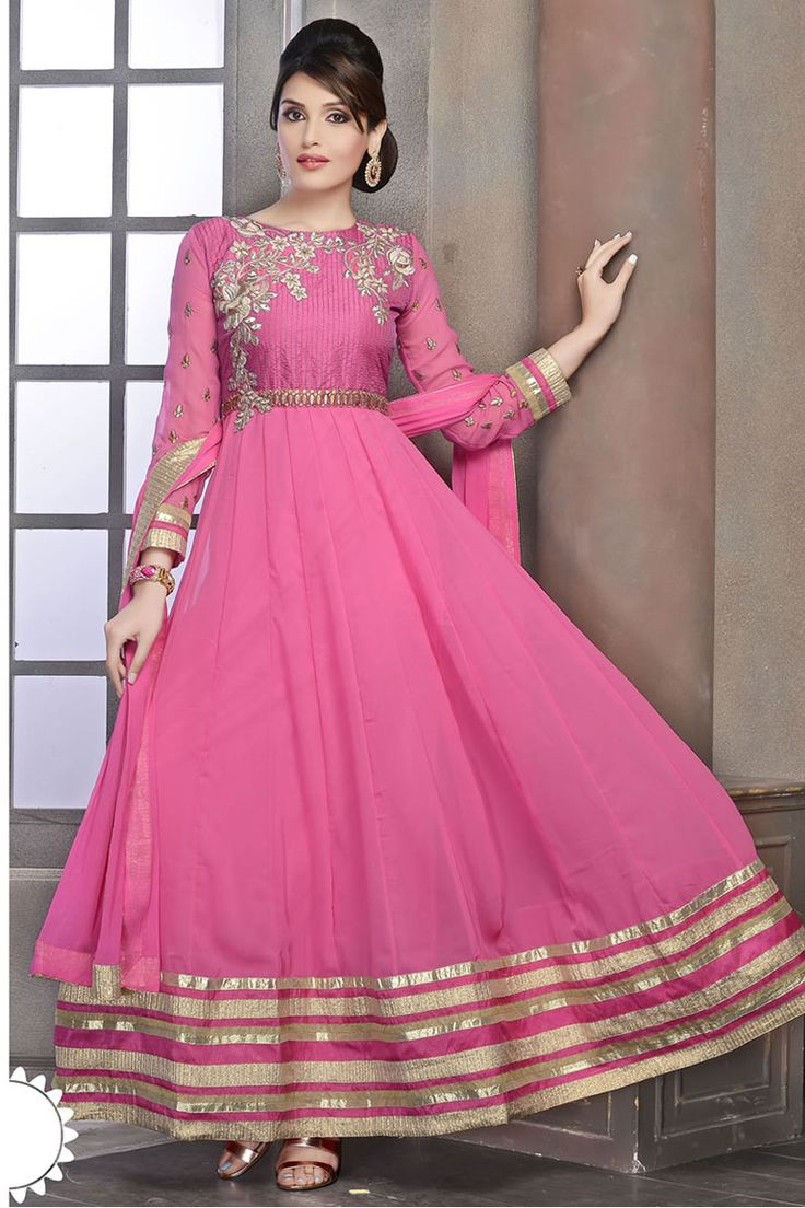Pink Anarkali Churidar Suit and Pink Dupatta Price:NOW: £49.00 Be the center of attraction with fancy anarkali churidar collection are now in store like Pink Anarkali Churidar Suit and Pink Dupatta. Dress is embellished with Embroidered, Patch, Resham work and Full Sleeve Kameez, Floor Length Kameez, Round Neck Kameez. This design is presented by Andaaz Fashion and prefect for Party, Wedding, Festival, Ceremonial.