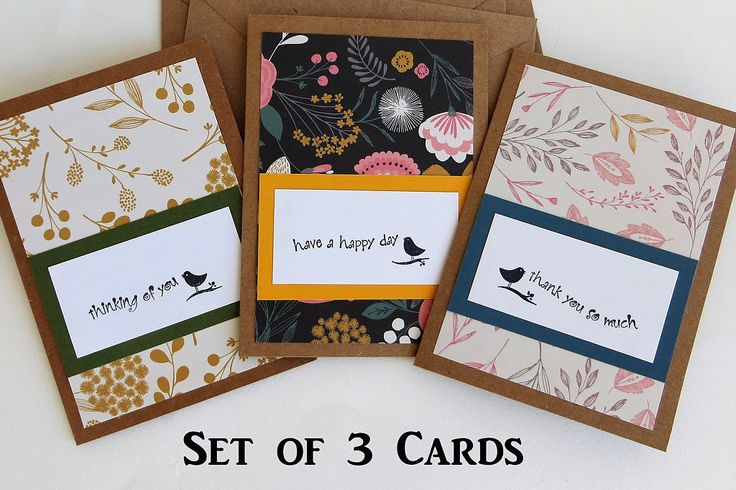 A set of 3 handmade cards with floral prints and stamped messages. The coordinating colors and patterns are super cute. Cards are blank inside. Perfect for all occasions! #handmadegreetingcards #etsyshop