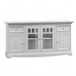 Belluno Elegante, 4 dveřová dřevěná komoda, bílá, masiv, borovice