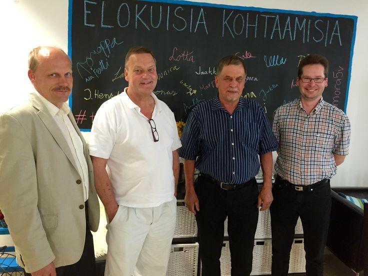Järvi-Saimaan Palveluiden herrat Pekka Lyytikäinen, Jukka Partanen, Esa Lappalainen ja Simo Kaksonen vierailulla Siltasaaressa, 7.8.2015.