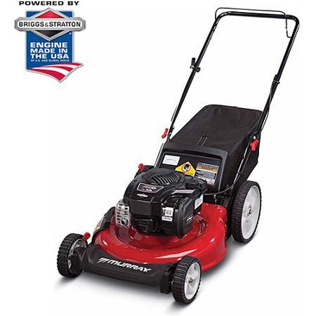 """Murray 21"""" Gas Push Lawn Mower with Side Discharge, Mulching, Rear Bag and Rear High Wheel"""