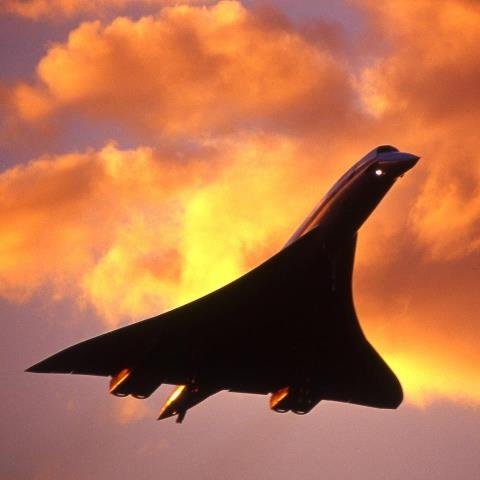 Concorde lands before dusk at Heathrow. Each day Concorde left Heathrow for New York disrupting life all along its flight path as people stopped to look.