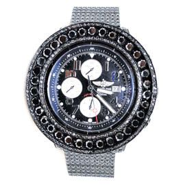 Breitling Super Avenger Black 57mm 50 Ct Diamond Mens Watch