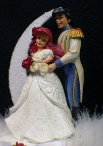 little mermaid prince disney wedding cake topper top knife server set garter lot