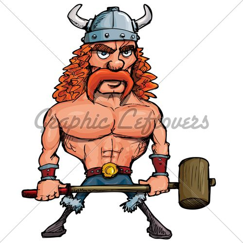 Viking | Cartoon Viking With A Big Hammer · GL Stock Images
