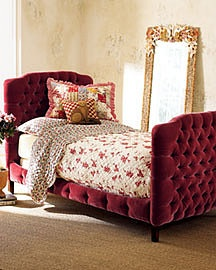 Horchow tufted sleigh bed