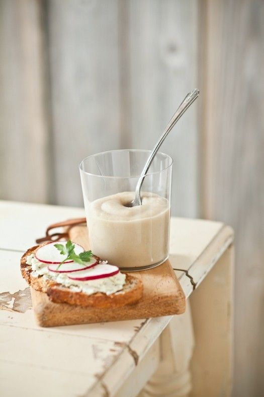 Root vegetable soup & herbed goat cheese tartines from Tartelette by Hélène Dujardin