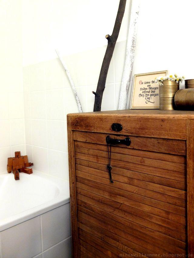 Badezimmer I Bad I Bathroom I Dekoration I DIY I Rollschrank I Schrank I  Holzschrank I