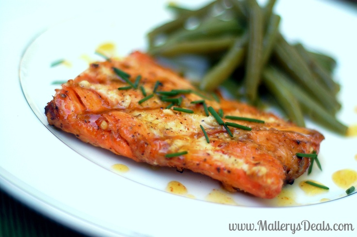 Honey mustard glazed salmon and green beans #grillingishappiness # ...