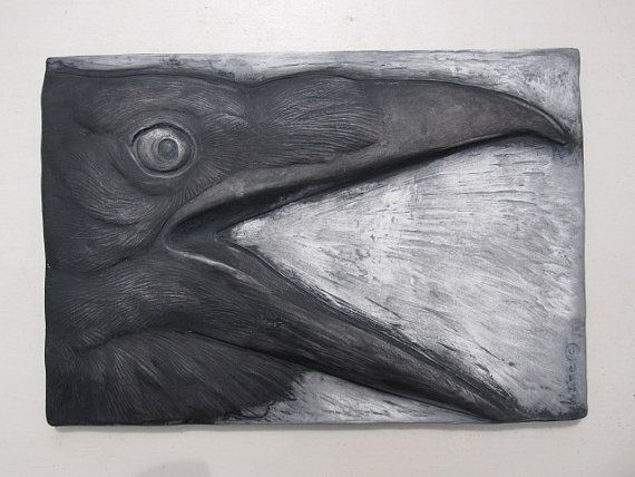 "Crow Calling Wallsculpture ~ via this Etsy store, ""SculptureGeek"" (Animal Sculpture, Paintings, and Decorative Art Tile)."