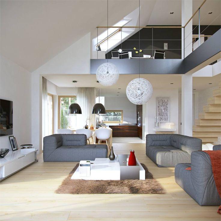Doskonały 3 - wizualizacja 4 - Nowoczesne projekty domów z dachem dwuspadowym i antresolą