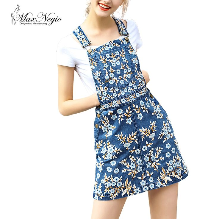 MaxNegio 2017 New Brand Summer Casual A Line blue jeans skirts saias Floral Embroidery Summer Skirt Denim Suspender skirt  #Affiliate