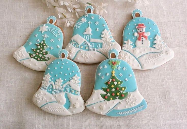 christmas bell decorated cookies  winter cookies