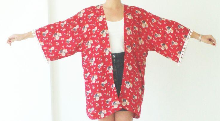 DIY Red Floral Kimono