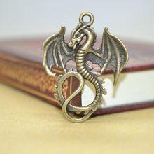 10 Pcs Charmes En Alliage de Zinc Antique Bronze Plaqué dragon Charmes Pendentifs Métal Les Résultats De Bijoux Diy 35*27mm 1419(China (Mainland))