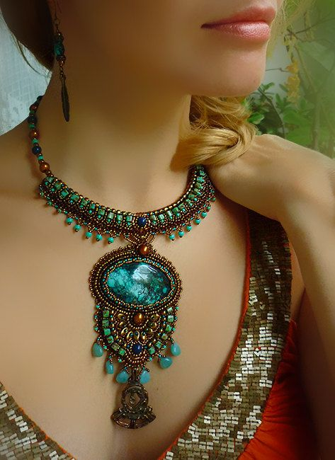 Relax -Necklace Bead Embroidery Art  with Turquoise. $340.00, via Etsy.