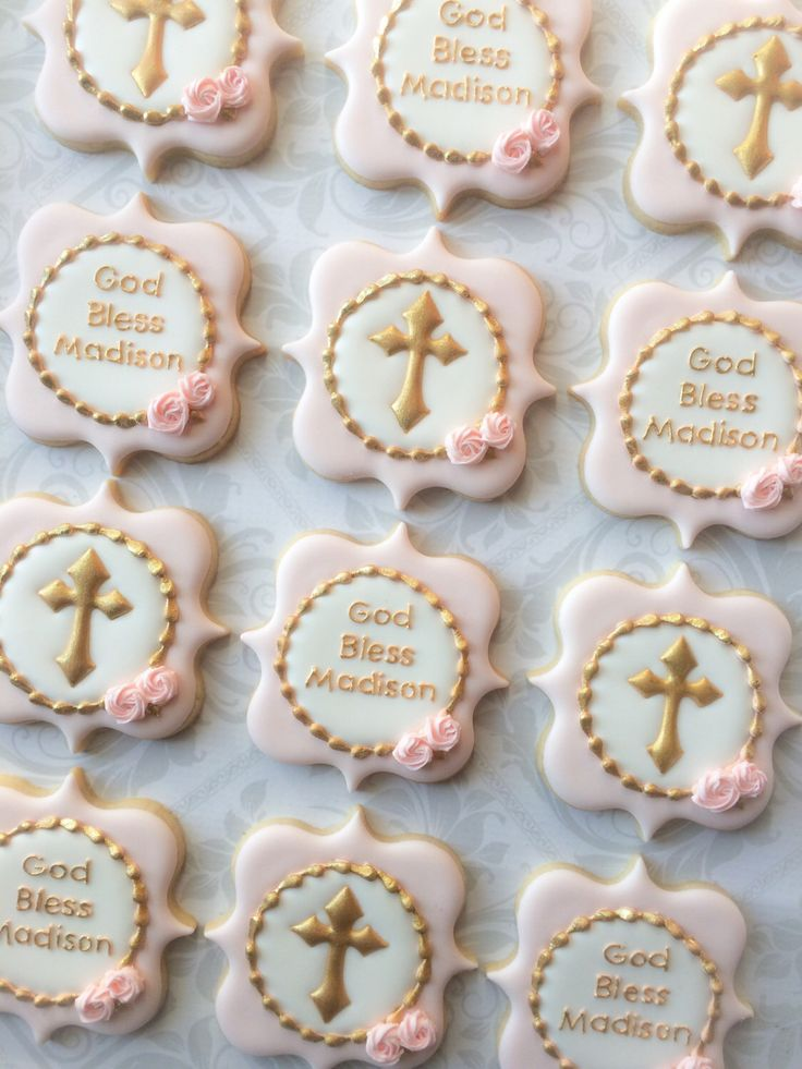 Elegant Pastel Pink God Bless And Gold Cross Baptismal Cookies - One Dozen (12) Decorated Sugar Cookies by thesweetesttiers on Etsy https://www.etsy.com/listing/475644718/elegant-pastel-pink-god-bless-and-gold
