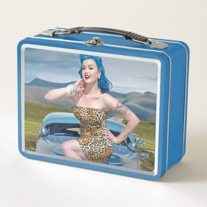 Jungle Jane Leopard Hot Rod Pin Up Car Girl Metal Lunch Box - girl gifts special unique diy gift idea