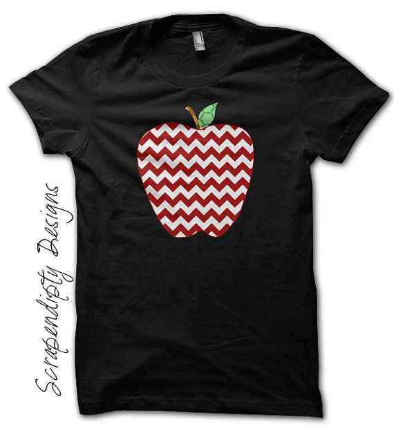 Chevron Apple Shirt - Teacher's Gift / Kindergarten Teacher Shirt / Apple Chevron Black Tshirt / Kids First Grade Outfit / Toddler Clothes by Scrapendipitees on Etsy