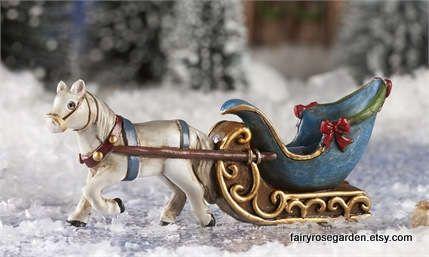 Fairy Garden Accessories -  Miniature Sled -  miniatures for fairy garden or terrarium - Christmas Fairy - Winter garden - Victorian Sleigh by FairyRoseGarden on Etsy
