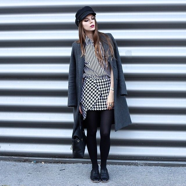 Asymmetric Houndstooth Bud Skirt - New Arrivals - Retro, Indie and Unique Fashion