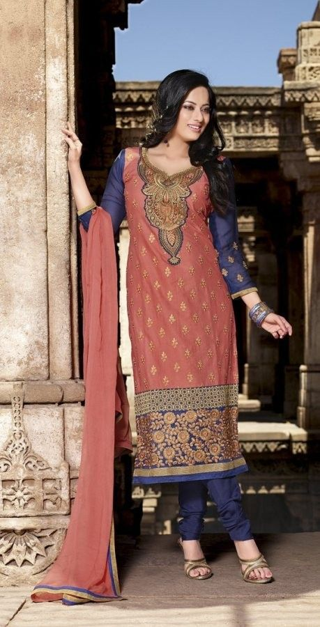 #Peach & Blue #Cotton #Salwar #Kameez With A #Chiffon Dupatta #EID #EIDcollection @mokshafashions