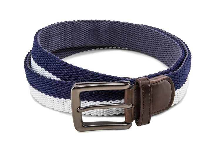 Men's Two Tone Stretchable Belt by ZALORA. Two tone color belt, with blue and white color.   pin buckle fastening, adjustable length, single keeper. Cool belt that will match your pants perfectly, pair it with a navy blue pants. http://www.zocko.com/z/JG0be