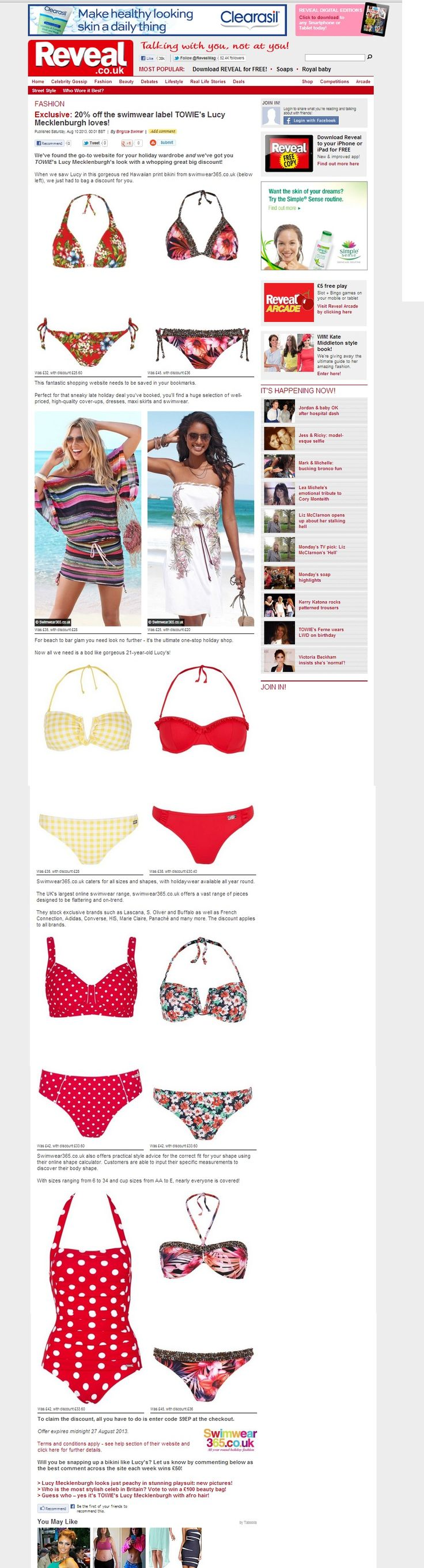 Jette Multi-Coloured Bandeau Bikini | Buffalo Yellow Checked Bandeau Bikini | LASCANA Red Polka Dot Swimsuit | Jette Multi-Coloured Ruched Triangle Bikini | Chiemsee Multi-Coloured Bandeau Bikini | Beachtime White Floral Bandeau Dress | Buffalo London Multi Striped Batwing Top | #RevealMagazine #Swimwear365