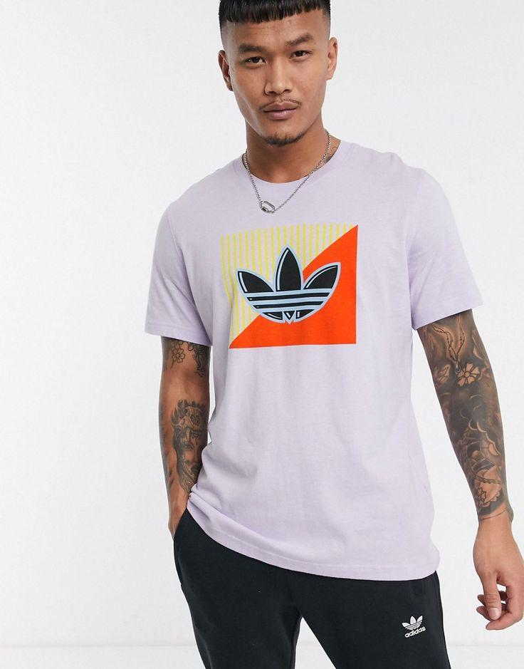 adidas Originals purple t-shirt with diagonal trefoil print in ...