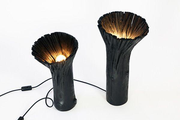 Брутальные черные лампы и торшеры.