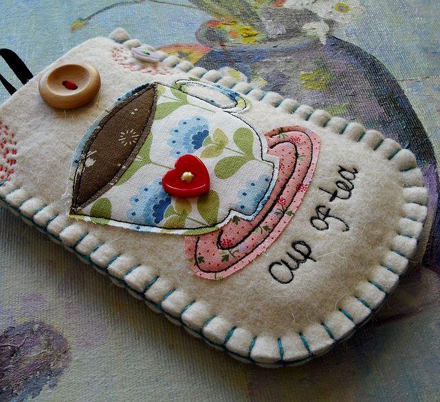 Cup of Tea Felt Phone Case by suezybees, via Flickr