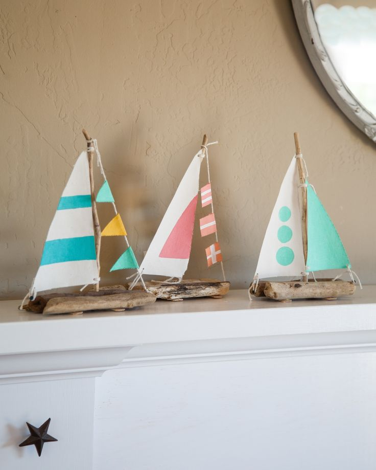 Driftwood And Drill Sailboats  •  Free tutorial with pictures on how to make an ornament in under 120 minutes