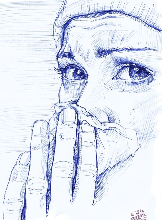"Saatchi Online Artist: HB Graphik; Ballpoint Pen, Drawing "".colds time."""