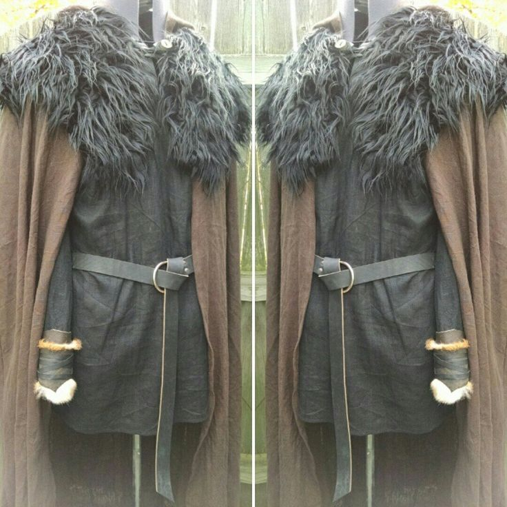 Ranger outfit; linen cloak and tunic, black wolf mantle, leather belt & cuffs.  Made and sold by folkofthewood on etsy