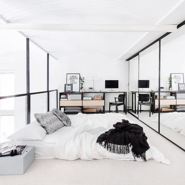 White Scandinavian loft bedroom