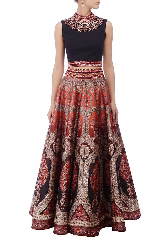 Black & crimson motif printed lehenga set by Neha Agarwal - Shop at Aza